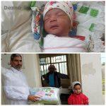 تولد نوزاد سیلزده با کمک خادمین هیئت روضهالزهرا(ع) دزفول در آهودشت